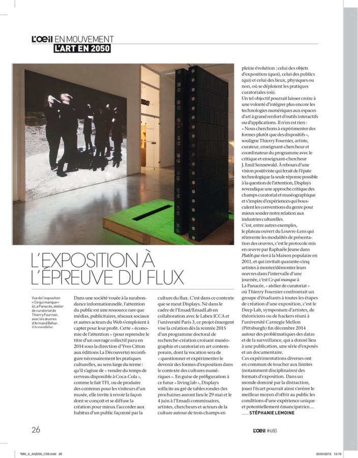 2015, Presse : l'Œil Magazine